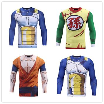 Men Fitness Quick Dry clothing Dragon Ball Z  Goku Vegeta Cosplay Costume bodybuilding Skinny Clothes Tight Sportswear
