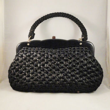 Vintage Handbag 50s 60s Mad Men Black Raffia Woven Purse May D & F Made in Italy