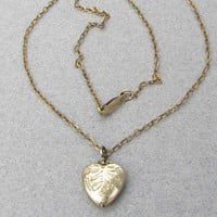 Child's Dainty Antique Victorian Signed Louis Stern Gold Filled Sterling Silver Vermeil Heart Locket Necklace