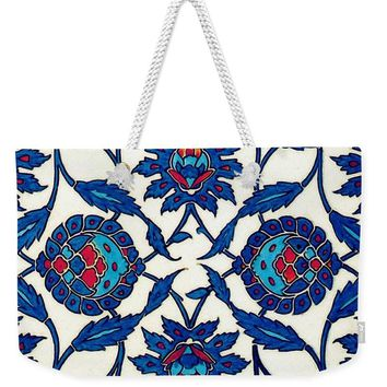 An Ottoman Iznik Style Floral Design Pottery Polychrome, By Adam Asar, No 34a - Weekender Tote Bag