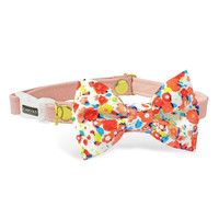 Katy Soft Pink Cat Bow Tie Collar - Floral - Breakaway Safety Buckle - Sizes for Cat, Kitten, Dog