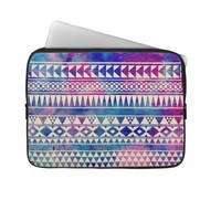 Pink Purple Teal Blue Girly Andes Aztec Pattern Laptop Computer Sleeves