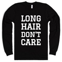 LONG HAIR DON'T CARE Long Sleeve Tee (WHITE ICL029)-Black T-Shirt