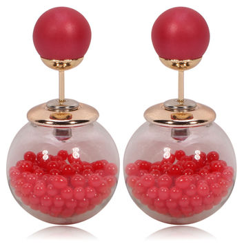 Gum Tee Tribal Earrings - Caviar Collection Red