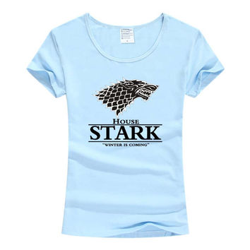 STARK women t-shirt Game of Thrones Shirt Winter is coming stark wolf funny casual t shirt womens summer tshirt women clothing