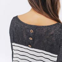Solid/Stripe Knit Button Back Top