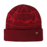 Diamond Supply Co Gold Pin Foldover Beanie - Womens Hat - Red - One