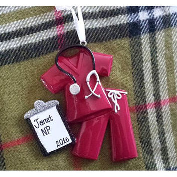 Maroon Scrubs Personalized Christmas Ornament - Nurse Ornament, Doctor Ornament, CNA, RN, Nurse Practitioner Ornament - Retirement Gift