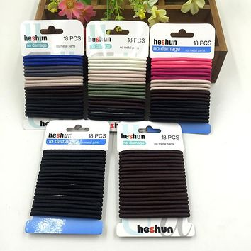 18 Pcs/Pack 4mm Seamless Solid Neural Color Elastic Hair Ties Ropes Girls' Hairband Women Hair Accessories