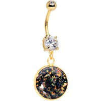 Handcrafted Black Faux Opal Gold Plated Big Deal Dangle Belly Ring