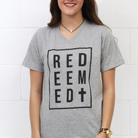 REDEEMED Short Sleeve V-neck Graphic Tee {H.Grey}
