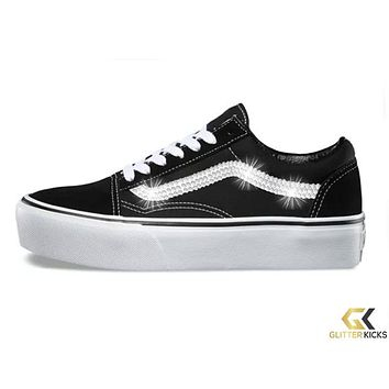 Womens Vans Old Skool Platform + Crystals - Black/White