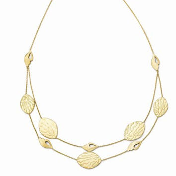 14k Yellow Gold Brushed and Textured Necklace