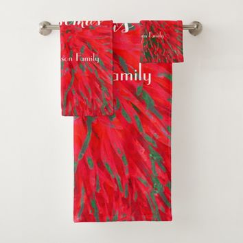 Merry Christmas Red Green Personalized Name Bath Towel Set