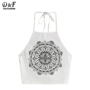 Sheinside Womans Top with Strap Top Fitness Summer White Vintage Circle Print Halter Neck Cami Top Sexy Camisole