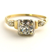 1950's Vintage VVS Diamond Ring with 14K Yellow Gold - Appraised $1375