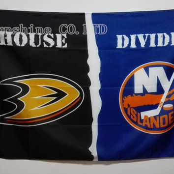 Anaheim Ducks  York Islanders NHL House Divided Flag hot sell goods 3X5FT 150X90CM Banner brass metal holes AD02 BC1948