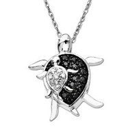 "Amazon.com: XPY 10k White Gold Mother and Baby Turtle Diamond Pendant Necklace (0.08 cttw, I-J Color, I2-I3 Clarity), 18"": Jewelry"