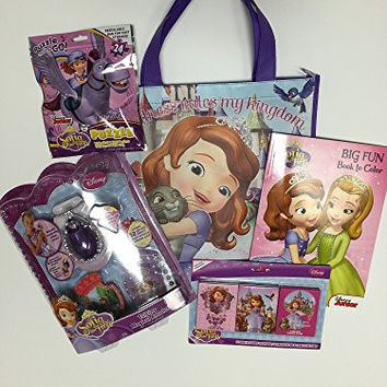 Disney Sofia the First Gift Set Bundle - Coloring Book, Crayons and 24 Piece Puzzle, Talking Magical Amulet and Coordinating Tote Bag