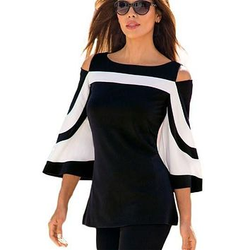 Fashion Black White Colorblock Bell Sleeve Cold Shoulder Top