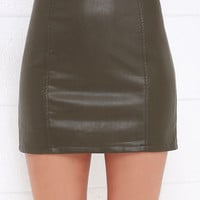 Cyberspace Dark Khaki Vegan Leather Mini Skirt