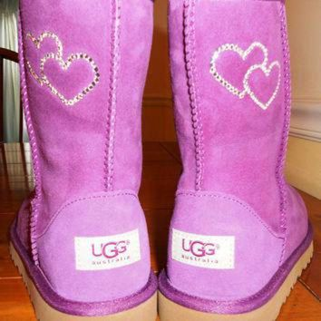 CREY1O Custom Bling Ugg Boots with Rhinestone Hearts Design