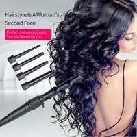 5in1 Hair Wand Curler 09-32mm Removable Cylindrical Conical Curling Iron Hair Curler Electric Curling Wand Hair Styler curler 39