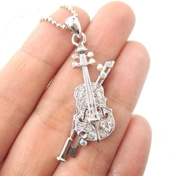 Realistic Miniature Musical Instrument Violin Shaped Pendant Necklace in Silver