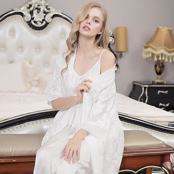 Free Shipping 2018 New Spring and Summer Princess Nightgown Women's Long Robe and White Slip Pajamas Two Pieces Set Sleepwear