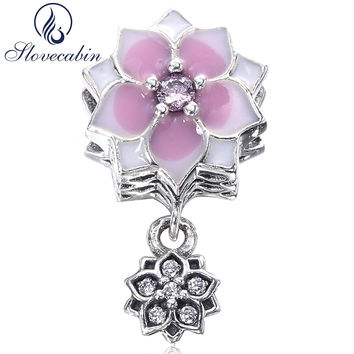 Slovecabin Magnolia Bloom Duo Hanging Charm Bead Fit Pandora Bracelet 925 Sterling Silver Flowes Lotus Bead DIY Jewelry Marking