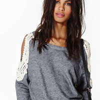Lace Cutout-Shoulder Sweater