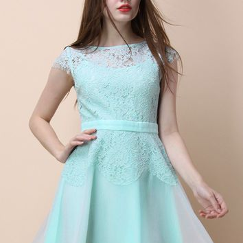 Spell of Lace Flare Dress in Mint