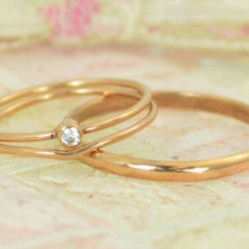 Tiny Diamond Solid 14k Rose Gold Wedding Ring Set