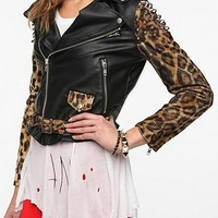 UNIF Leopard-Sleeve Leather Jacket