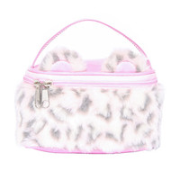 Pink Faux Leopard Fur Cosmetics Train Case