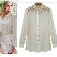 New Women Fashion Lace sweet flower Shirt Blouse Top Long sleeve fashional
