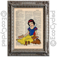 Snow White with Animals on Vintage Upcycled Dictionary Art Print Book Art Print Recycled Disney Princess