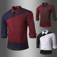 New Color Contrast Designer Men's Slim Fit Shirt