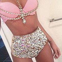 Fairy Dust Rhinestone Body Glam Swimsuit Bikini