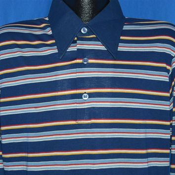 70s Kings Road Striped Long Sleeve Polo Shirt Extra Large
