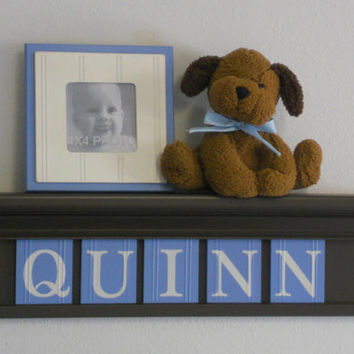 "Baby Boy Nursery Wall Shelves - 24"" Chocolate Brown Shelf and 5 Pastel Blue Wall Letter - Personalized for QUINN"