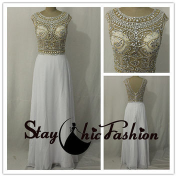 White Long Illusion Beaded Top Cap Sleeves Scoop Neck Evening Prom Gown 2015 with Gold Silver Beading