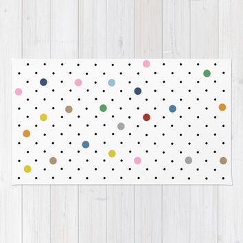 Pin Points Polka Dot Area & Throw Rug by Project M   Society6