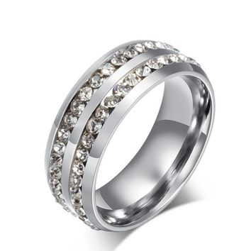 Fashion Double Rows Crystal silver Titanium Steel Wedding Jewelry Ring SL 6#