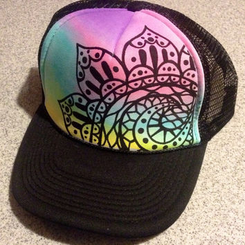 Handpainted Wave Flower Trucker Hat