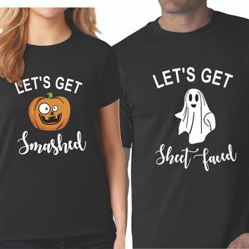 Let's Get Smashed Let's Get Sheet Faced Halloween Matching Black T-shirts