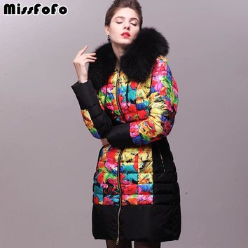 Miss FoFo Brand Womens Down Coats RoyalCat Jacket New Fashion Real Raccoon Fur 3D Print Thick Down Coat for Female Winter Jacket