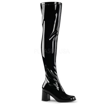 Pleaser Female 3 Inch Block Heel, Gogo Over-The-Knee Boot GOGO3000