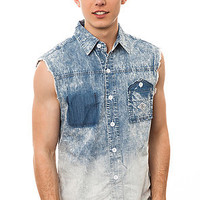 Born Fly Shirt Chim Sleeveless Buttondown in Bleach Splash Blue