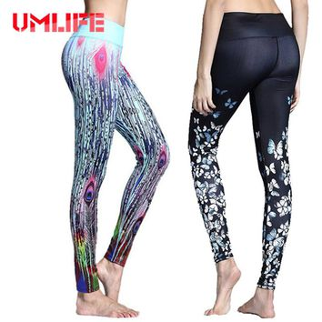 UMLIFE Women Peacock Printed Yoga Pants Fitness Gym Elastic Stretch Running Tights Workout Dancing Sports Leggings Quick Dry